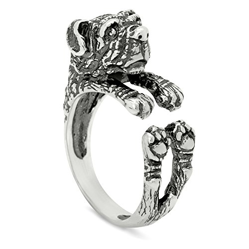 Silver-Wear Swirls Sterling Silver Antique Finish Rottweiler Dog Wrap Ring