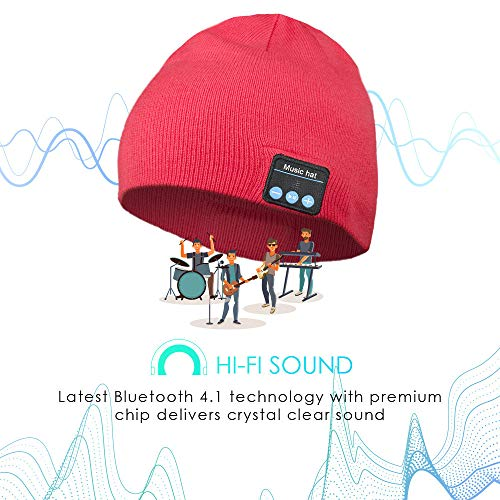 Bluetooth-Beanie-Hat-Wireless-Headphone-Beanie-Gifts-for-Men-and-Women-Winter-Knitting-Beanie-Cap-Bluetooth-Earphones-Built-in-Microphone-Hand-Free-CallingRed