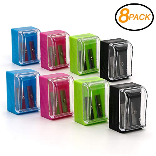 Emraw Dual Blade Square Sharpener with Receptacle to Catch Shavings for Regular/Oversize Pencils & Crayons Designed in Blue, Green, Pink & Black Plastic – Great for School, Home & Office (8 pack) ()