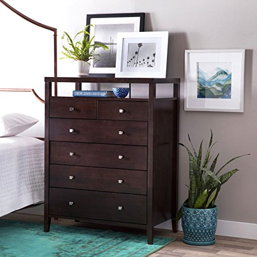 Contemporary Tall Dresser Provides Elegant Style And Modern Functionality. Chest Of Drawers Features Six Storage Compartments And Upper Shelf For Your Bedroom. Sleek Design In Espresso Brown (Elegant Dresser)