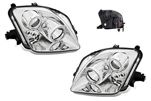 Led Prelude Projector (SPPC Projector Led Headlights Chrome Assembly Set Halo For Honda Prelude - (Pair) Driver Left and Passenger Right Side Replacement Headlamp)