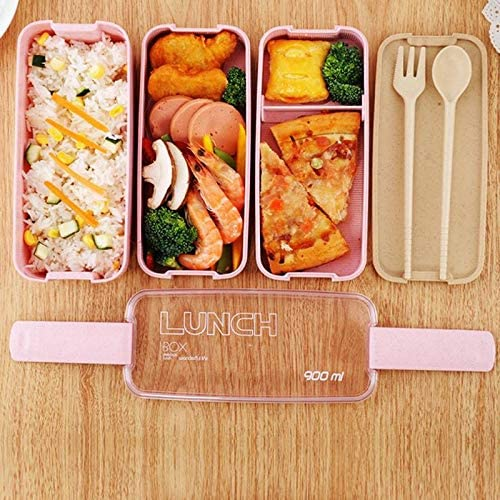 900ml 3-Layer Bento Box Spoon Lunch Box Food Container Eco-Friendly Leakproof