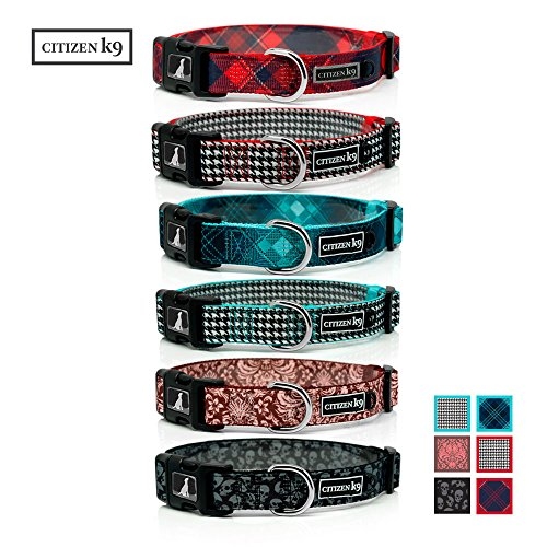 Red Plaid Dog Collar - Buju Citizen K9 Dog Collar – Adjustable Large Medium Small xs Stays for Dogs & Cats – Buffalo Red Plaid Large – Strong and Durable - Polyester Training Collars with Matching Leash Available
