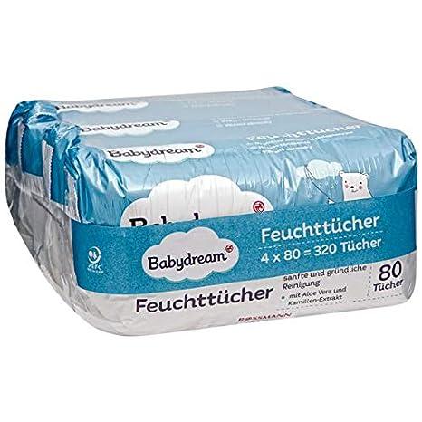 Baby Dream Toallitas 320 unidades 4 x 80 toallitas suave & Limpieza, con extracto de