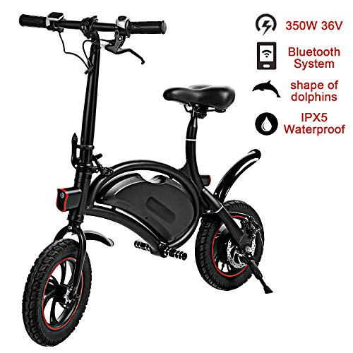 shaofu Folding Electric Bicycle - 350W 36V Waterproof E-Bike with 15 Mile Range, Collapsible Frame, and APP Speed Setting (Black-6AH)