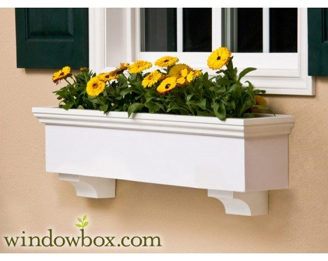 24 Inch New Haven Direct Mount No Rot PVC Composite Flower Window Box w/ 2 Decorative Brackets by Windowbox