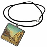 3dRose BLN Impressionist Fine Art Collection - Quai de la Gare, Snow by Jean-Baptiste Armand Guillaumin - Necklace With Rectangle Pendant (ncl_127332_1)