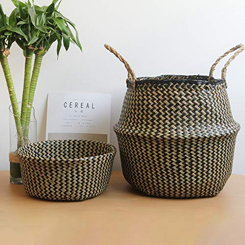 Best Quality - Storage Baskets - Seagrass Laundry Basket Natural Rattan Flower Basket Vase Planter Nursery Pot Belly Basket Straw Toys Organizer Home Decor - by SeedWorld - 1 PCs by SeedWorld