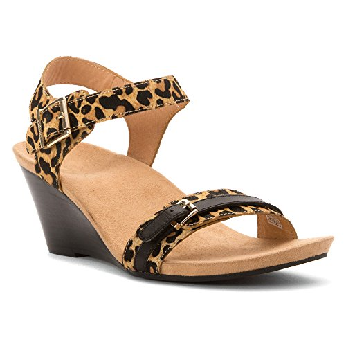 Vionic with Orthaheel Technology Womens Noble Laurie Sandals 7.5 Medium Tan Leopard