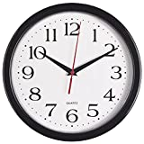 Bernhard Products Black Wall Clock, Silent Non Ticking - 10 Inch Quality Quartz Battery Operated Round Easy to Read Home/Office/School Clock