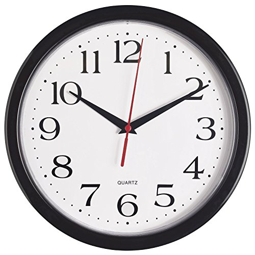 Bernhard Products – Black Wall Clock, Silent Non Ticking Quality Quartz Battery Operated 10 Inch Round Easy to Read Home/Office/School Clock