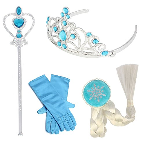 Princess Elsa Dress Up Accessories,Tiara Braid Wand Blue Gloves (Baby Alive Costume)