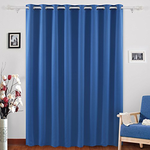 Deconovo Grommet Top Blackout Curtains Wide Curtains Window Curtains for Bedroom 80 x 84 Inch Dark Blue 1 Panel (1 Curtain)