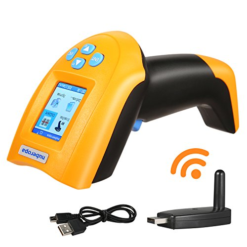 Nuberopa USB Barcode Scanner, 1D Wireless Barcode Scanner 433M Handheld Cordless Laser Bar-code Reader with Intelligent TFT Color LCD Screen, USB Rechargeable Automatic Bar Code Scanner by Nuberopa