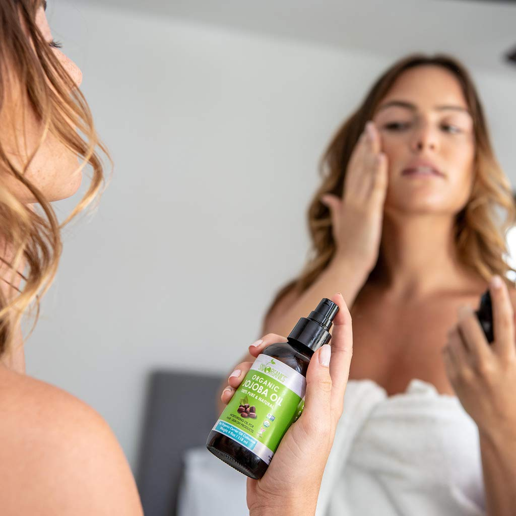 Sky Organics USDA Organic Jojoba Oil: Unrefined, 100% Pure, Cold-Pressed- Moisturizing & Healing, For Dry & Oily Skin, Acne, Frizzy Hair - For Skin, Hair and Nail Care, 4 oz : Beauty