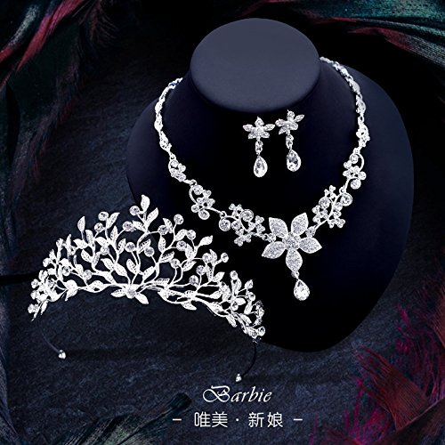 Price comparison product image Quantity 1x bride Headdress 2017 new Crown Tiara Party Wedding Headband Women Bridal Princess Birthday Girl Gift necklace earrings _three-piece_ Wedding Hair Ornaments Wedding Rhinestone _