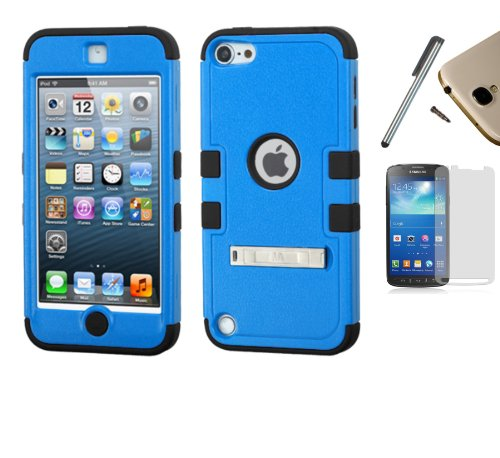 Apple iPod Touch 5 / 6 (5th Gen) Dual Layer Tuff Armor Impact Hybrid Soft Silicone Cover Hard Plastic Case + [WORLD ACC] TM Brand LCD Screen Protector + Silver Stylus Pen + Black Dust Cap Free Gift (Natural Tuff Blue / Black) - Ipod Touch 5th Gen Acc
