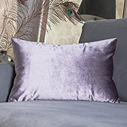 "HOME BRILLIANT Rectangular Oblong Accent Throw Pillow Cover Decorative Cushion Cover Neck Support/Nursing, 12"" x 20""(30cmx50cm), Lilac"