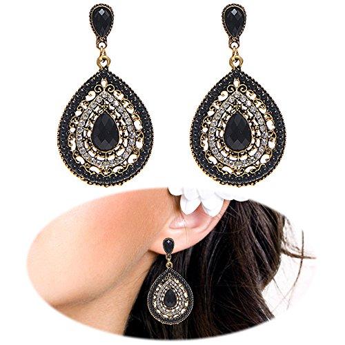 Beaded Teardrop Earrings - Boho Beaded Drop Earrings Heart Teardrop Dangle Crystal Gemstone Bohemia Women Retro Cute Clip On Jewelry Black