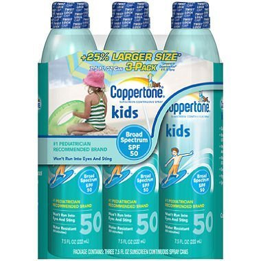Coppertone Kids Continuous Spray 50SPF - 3/7.5oz. Cans by Coppertone by Chunkaew