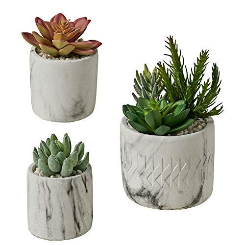 MOTINI Artificial Succulent Plants Mini Fake Plants Potted, Stone Pot with Pebble, Faux Plants Decoration, for Bathroom…