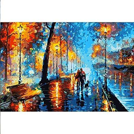 Msbvf DIY Paisaje Abstracto Paseo Nocturno Pintura por números Cuadro Pintura al óleo sobre Lienzo para decoración de Pared Pintura al óleo a Mano Frameless 40 * 50CM