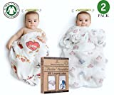 BABY MUST HAVE❤️- SET of 2 PREMIUM 100% ORGANIC COTTON MUSLIN BLANKETS by BABYJU - Unisex - Cute Design for BOYS and GIRLS - LARGE - 47