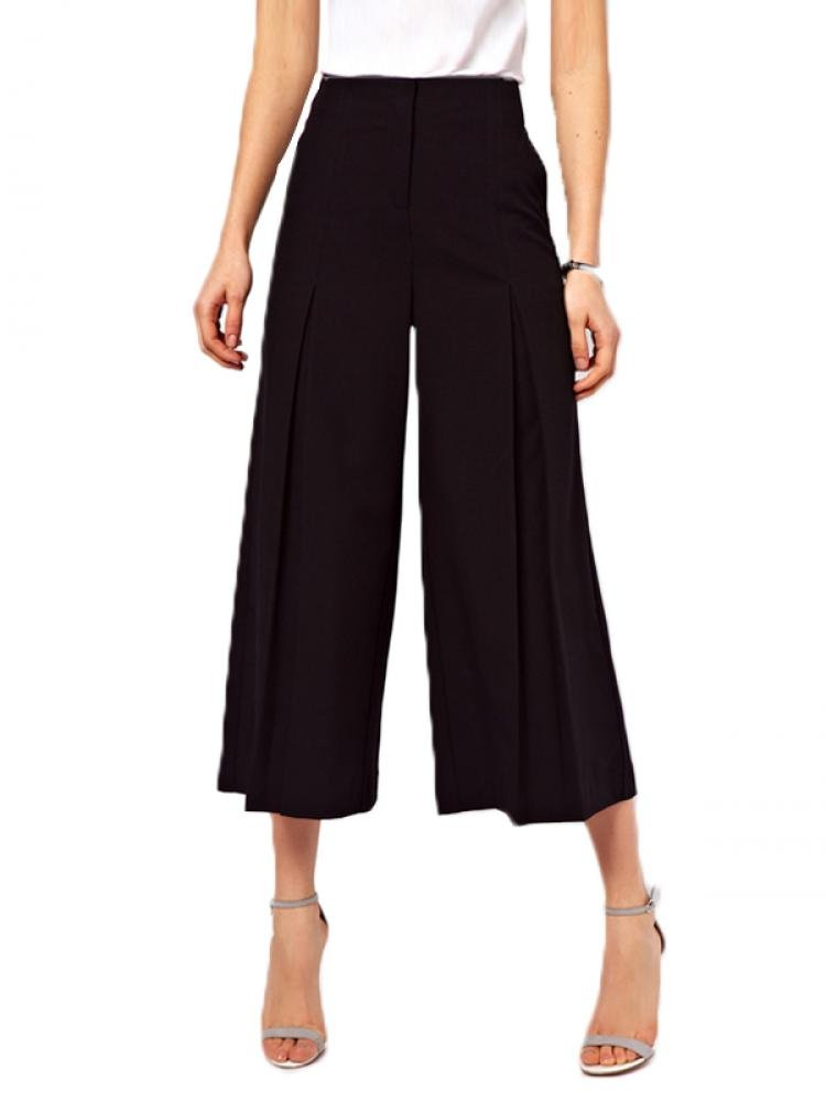 Enlishop Women's Palazzo Wide Leg Pants Trouser Plus Size High Waist Black