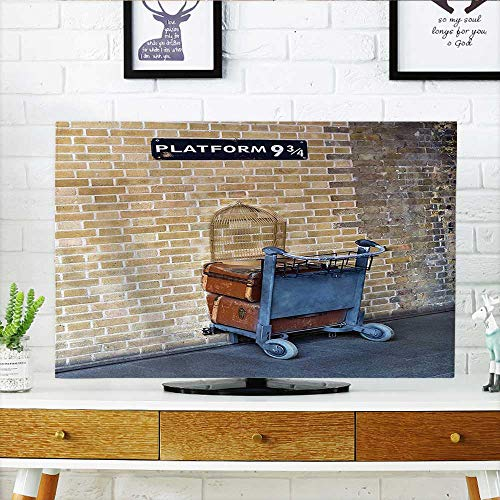 Cart H30 (Leighhome TV dust Cover Wizard Secret Way for Train to Magical Kings Cross Famous Landmark Suitcase Cart TV dust Cover W19 x H30 INCH/TV 32
