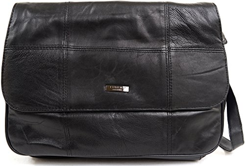 Ladies / Womens Soft Nappa Leather Medium Practical Handbag / Shoulder (Nappa Leather Flap Handbag)