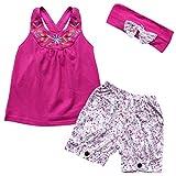 iiniim Baby Girls 3PCs Flower Outfit Headband + Vest Top + Shorts Clothes Set Fuchsia 18-24 Months