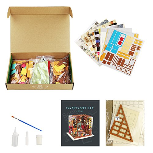 Robotime DIY Library Wooden Dollhouse Kits- Books Store