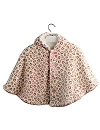 Avitalk Leopard Printed Newborn Baby Cashmere Cape with Hooded Cloak 0-3 Years