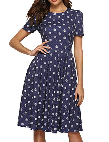 (Simple Flavor Women's Floral Summer Midi Dress Vintage Evening Dress Short Sleeve(0007Navy,L))