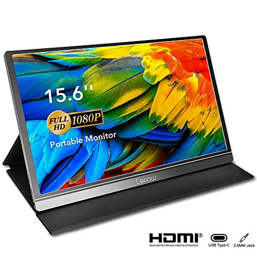 Portable Monitor - Lepow 15.6 Inch Computer Display 1920×1080 Full HD IPS Screen USB C Gaming Monitor with Type-C Mini HDMI for Laptop PC MAC Phone Xbox PS4, Include Smart Cover & Screen Protector (Best Size Tv For Gaming Ps4)