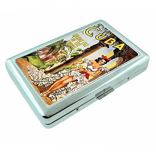 Metal Silver Cigarette Case Vintage Poster D-040 Cuba - Holiday Isle of the Tropics'' Vintage Travel
