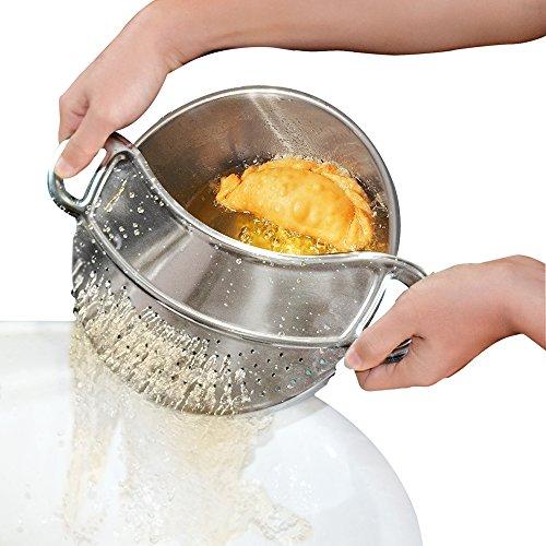 Price comparison product image Clip-on Kitchen Food Strainer, Strainer, Steel Colander, Pasta Strainer - Dishwasher Safe Colander Perfect For Draining Pasta,  Vegetables,  Potatoes,  etc. - Universal Fit for all pots and bowls