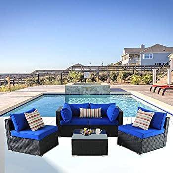 Amazon.com : Patio Furniture Sofa Outside Couch PE Black ...