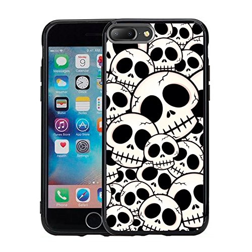 Compatible for iPhone 8 Plus Case iPhone 7 Plus Case (5.5 inches) Black Case TPU - Black and White Cartoon Skeleton]()
