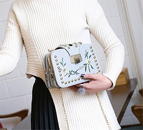 La cadena de bolsos de señora Xinmaoyuan abrazadera bordado Bolso de Hombro silvestres Paquete Diagonal,negro Gris