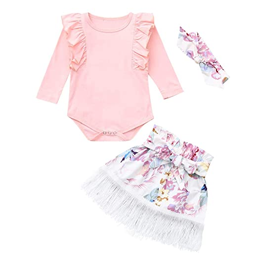 78f2c7263ec24 Amazon.com: 3Pcs Infant Toddler Baby Girls Ruffles Romper Long ...