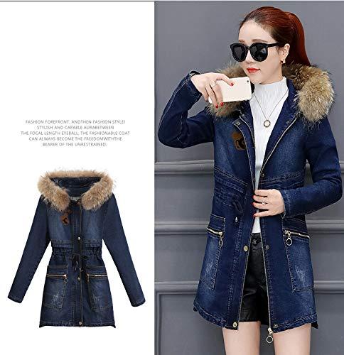 Hiver À Jean Ainsi Épais Atr De Femelle Velours Porter Capuchon Veste Bleu Manteau Que En Long D'hiver Coton HgHqIv
