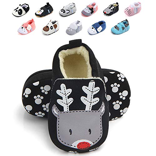 (Sawimlgy Infant Baby Boys Girls Non Slip Walking Slippers Socks Soft Sole Warm Booties with Grip First Crib Shoes Home Moccasins Newborn Gift Shoes)