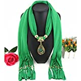 HOLLOW PHOENIX GEM PENDANT WITH TASSEL DESIGN FASHION SCARF NECKLACE (GREEN)