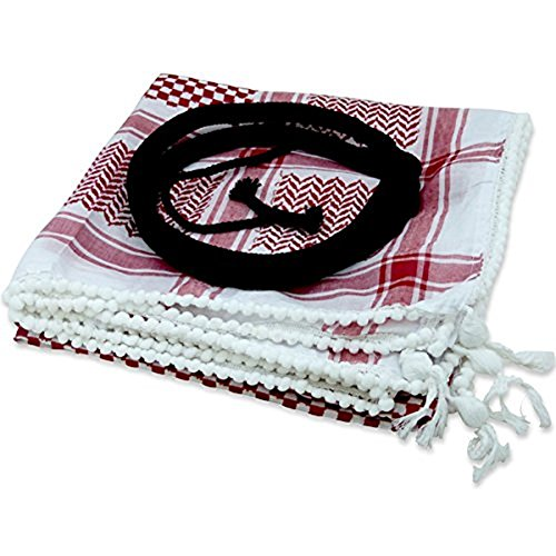 Middle Eastern Red & White Kafiya Keffiyeh Kufiya with Aqal Rope by Bethlehem Gifts TM
