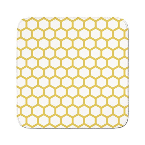 Cozy Seat Protector Pads Cushion Area Rug,Yellow and White,Hexagonal Pattern Honeycomb Beehive Simplistic Geometrical Monochrome,Mustard White,Easy to Use on Any Surface