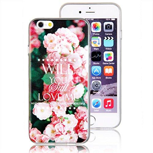 """JewelryWe """"WILL You Still LOVE ME"""" Pink Rose Blumen Handy Case Schutzhülle Tasche Hülle Rückenschutzhülle Etui für Apple iPhone 6(4,7"""")"""