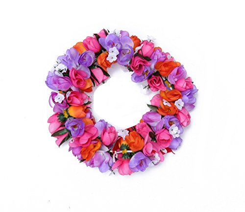 Hawaiian Luau Party Kapiolani Tuberose Artificial Fabric Flower Headband Haku Purple Pink (The Hangover Costume)