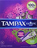 Tampax Radiant Super Plastic Tampons, Unscented, 16 Count, Packaging May Vary
