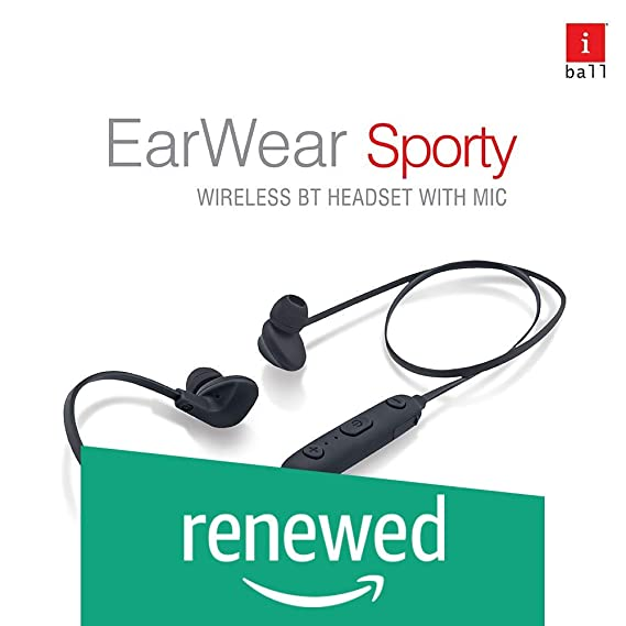 Renewed  iBall EarWear Sporty Wireless Bluetooth Headset with Mic for All Smartphones  Full Black